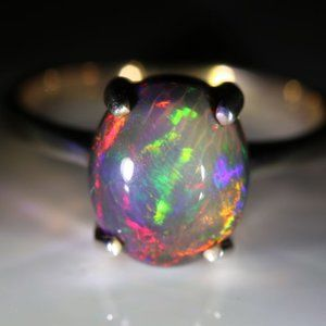 Jewelry - Chocolate Opal 3.30ct Rhodium Solid Silver Ring